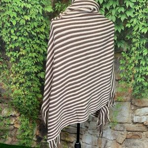 Sweaters - RIBBED STRIPED Turtleneck Poncho, O/S